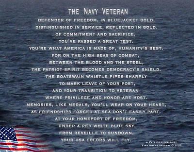 The Navy Veteran Art Print by Patrick J Maloney