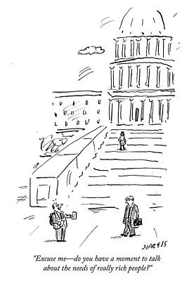 Charity Drawing - The Needs Of Really Rich People by David Sipress