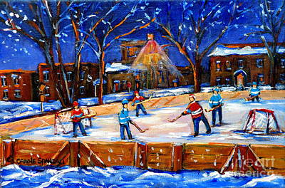 Painting - The Neighborhood Hockey Rink by Carole Spandau