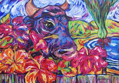 Painting - The Neighbours Nosey Bull by Dianne  Connolly