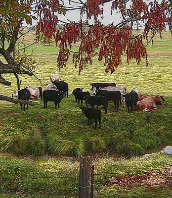 Cow Mixed Media - The Neighbours by Susan  Epps Oliver