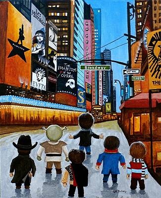 Painting - The Neon Lights Are Bright On Broadway by Al  Molina