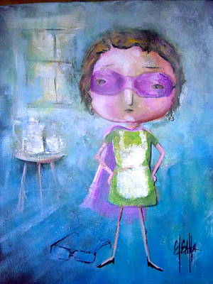 Art Print featuring the painting The Nerearsighted Super Mom by Eleatta Diver