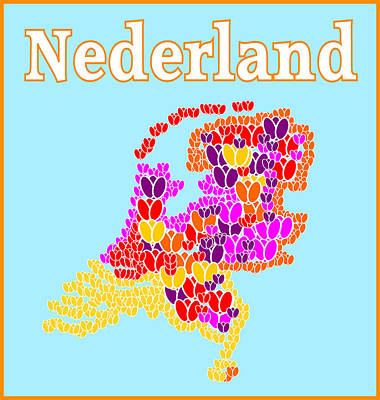 Tulips Digital Art - The Netherlands Tulip Map by Trudy Clementine