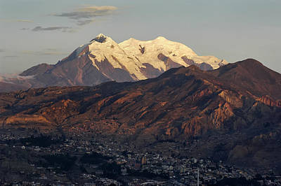 The Nevado Illimani And The South City Of La Paz. Republic Of Bolivia. Print by Eric Bauer