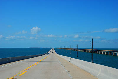 The New And The Old Seven Miles Bridge In The Florida Keys Art Print