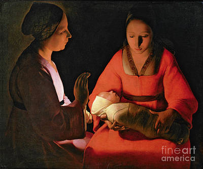 Woman Holding Baby Painting - The New Born Child by Georges de la Tour