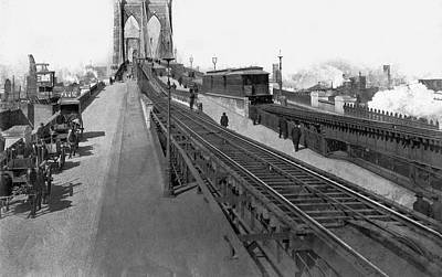 Carriage Horse Photograph - The New Brooklyn Bridge by Underwood Archives