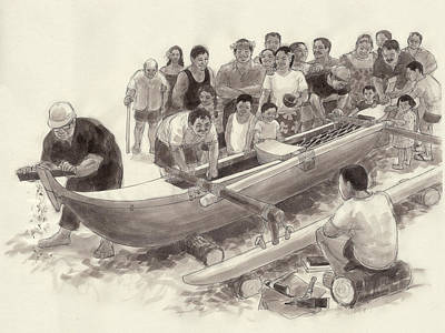 Drawing - The New Canoe by Judith Kunzle