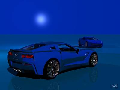 Digital Art - The New Corvette Stingray by John Pangia