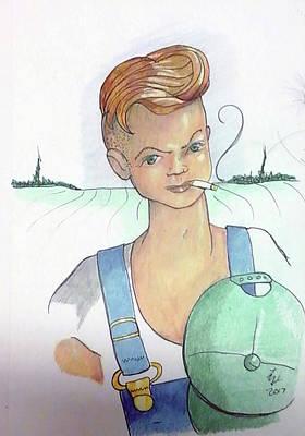 Drawing - The New Farmer by Loretta Nash