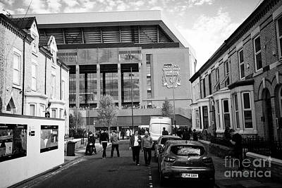 The New Main Stand At Liverpool Fc Anfield Stadium From Surrounding Streets Liverpool Merseyside Uk Art Print by Joe Fox
