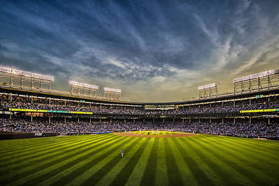 Baseball Royalty-Free and Rights-Managed Images - The New Wrigley Field With Pretty Sunset Sky by Sven Brogren