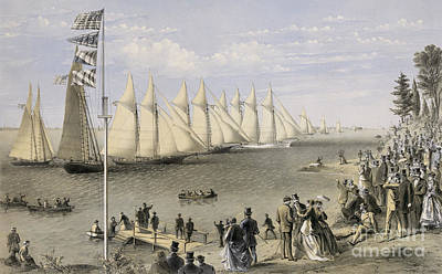 Upper Classes Painting - The New York Yacht Club Regatta, 1869 by Currier and Ives