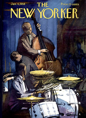 Bass Drum Photograph - The New Yorker Cover - January 4th, 1958 by Arthur Getz