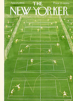 Tennis Photograph - The New Yorker Cover - June 25th, 1960 by Anatol Kovarsky