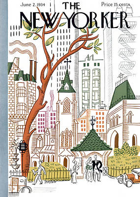 Church Photograph - The New Yorker Cover - June 2nd, 1934 by Harry Brown