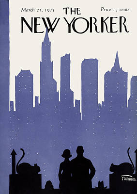 Night Photograph - The New Yorker Cover - March 21st, 1925 by Carl Fornaro
