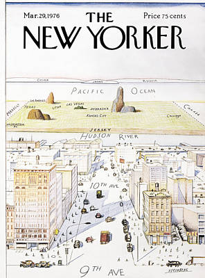 Worlds Photograph - View From 9th Avenue by Saul Steinberg