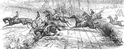 Fox Drawing - The Newport Pagnel Steeple Chase by John Frederick Herring Snr