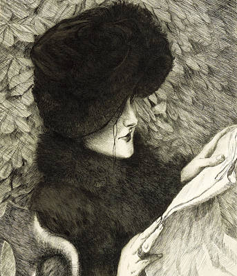 Glass Etching Drawing - The Newspaper by James Jacques Joseph Tissot