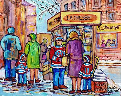 Painting - The Newsstand La Presse The Star Hockey Jerseys Plateau Mont Royal City Scene Painting C Spandau Art by Carole Spandau