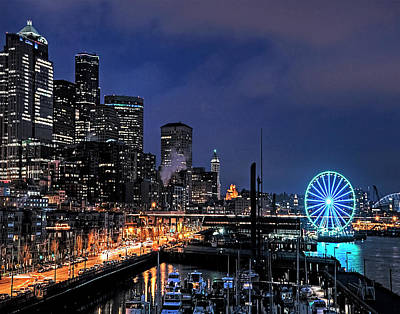 Photograph - The Night Before Super Bowl Xlix, 2014, Seattle Waterfront by Greg Sigrist