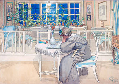 Painting - The Night Before The Trip To England by Carl Larsson