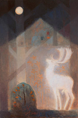 Painting - The Night Of The White Fallow Deer by Attila Meszlenyi