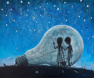 Wallpaper Painting - The Night We Broke The Moon by Adrian Borda