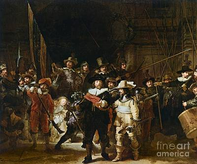 Crowds Painting - The Nightwatch by Rembrandt
