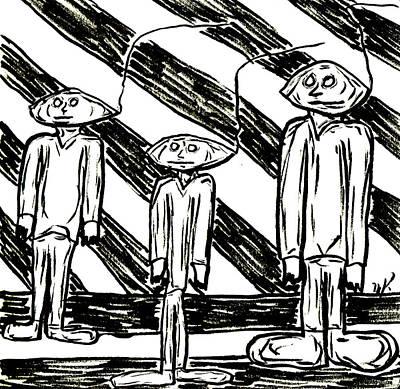 Drawing - The Nod Trio Circa 1962 by Mario Perron