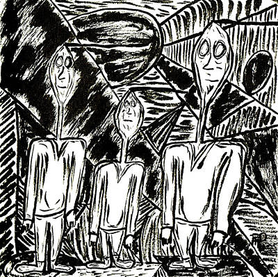 Drawing - The Nod Trio Circa 1967 by Mario MJ Perron