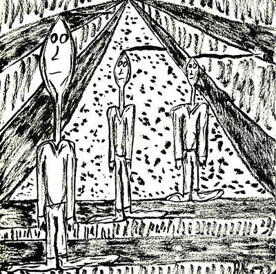 Drawing - The Nod Trio Circa 1971 by Mario Perron