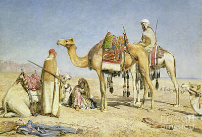 Bedouin Painting - The Noonday Halt by John Frederick Lewis