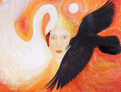 Swan Goddess Painting - The Nordic Goddess by Solveig Katrin