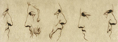 Greek Drawing - The Noses - Sepia by Stevie the floating artist