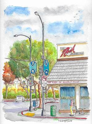Beverly Hills Painting - The Nosh Of Beverly Hills, Little Santa Monica And Roxbury, Beverly Hills, California by Carlos G Groppa