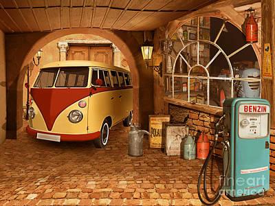 Dilapidated Mixed Media - The Nostalgic Garage With Bulli by Monika Juengling