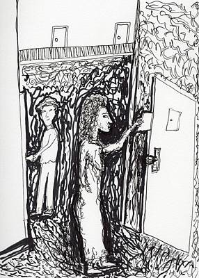 Drawing - The Note In The Door by Jim Taylor