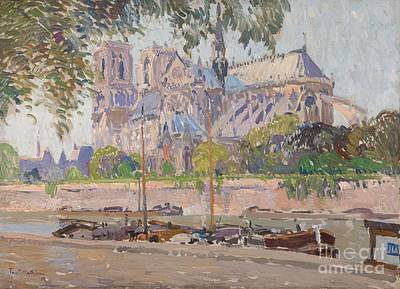 Notre Dame Cathedral Painting - The Notre Dame Cathedral In Paris by MotionAge Designs