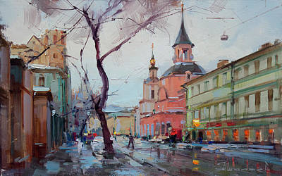 Moscow Wall Art - Painting - The November Thaw. New Basmannaya by Alexey Shalaev