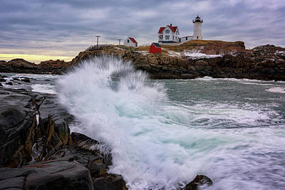The Nubble After A Storm Art Print by Rick Berk
