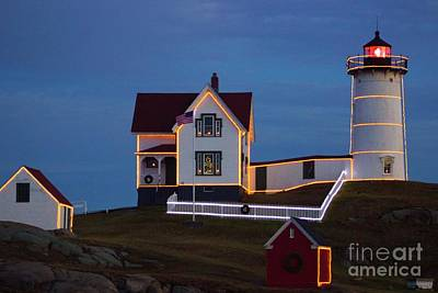 Photograph - The Nubble At Christmas by Alice Mainville