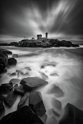 Photograph - The Nubble In Black And White by Rick Berk