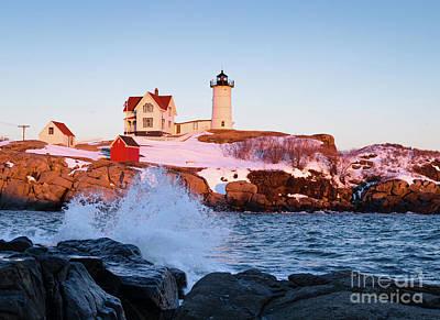 Photograph - The Nubble In Winter, Cape Neddick, Maine  -21022 by John Bald