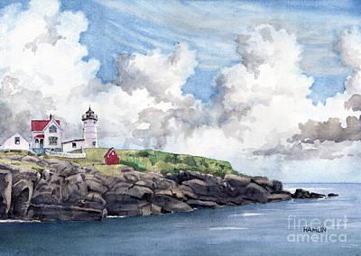 New England Lighthouse Painting - The Nubble - York Maine by Steve Hamlin
