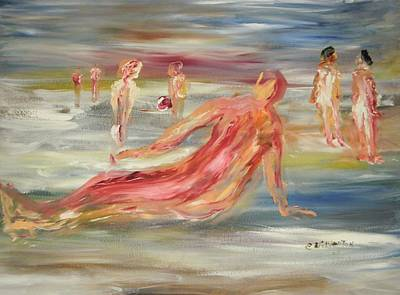The Nude Beach Art Print by Edward Wolverton
