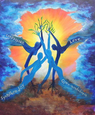 Tree Roots Painting - The Nurturing Four by Connie Townsend
