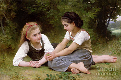 Sisters Painting - The Nut Gatherers by William-Adolphe Bouguereau